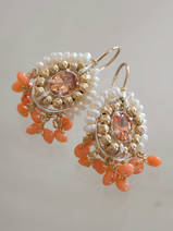 earrings Ethnic coral, crystal and pearls