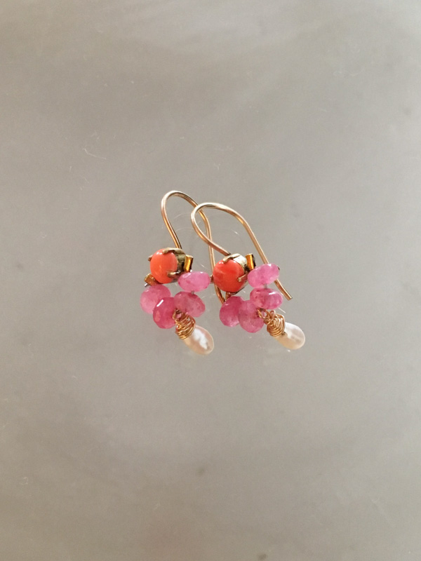 earrings Dancer coral, pink jade, pearl