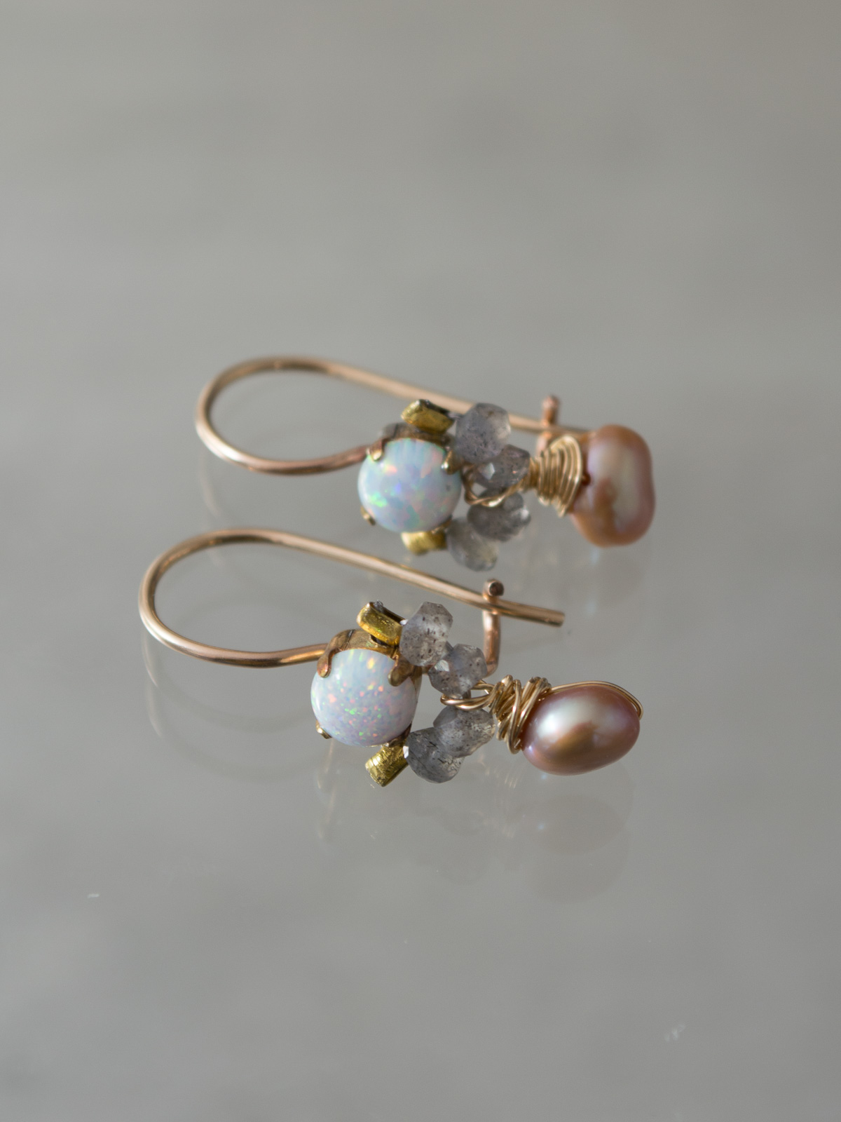 earrings Dancer opal, labradorite, pearl