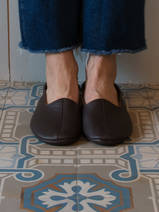 leather house slippers - dark brown