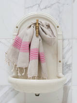 linen hamam towel fuchsia striped