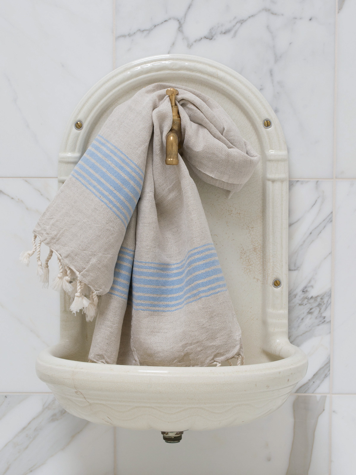 linen hamam towel blue striped