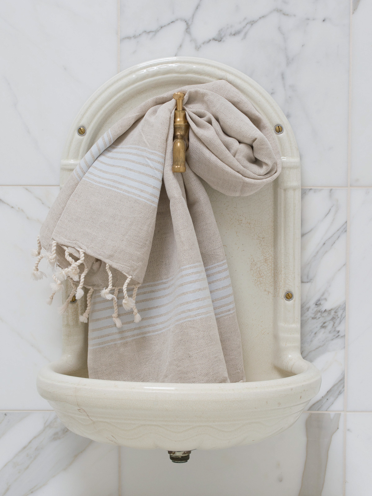 linen hamam towel light blue striped