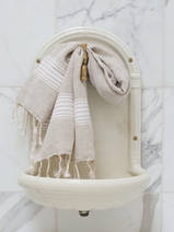 linen hamam towel white striped