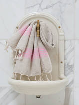 linen hamam towel sorbet pink striped
