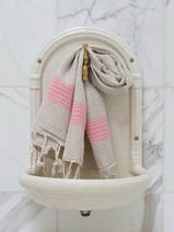 linen hamam towel candy pink striped