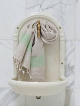 linen hamam towel pistachio green striped