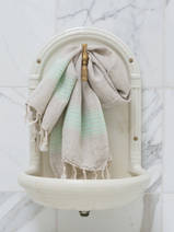 linen hamam towel fresh green striped