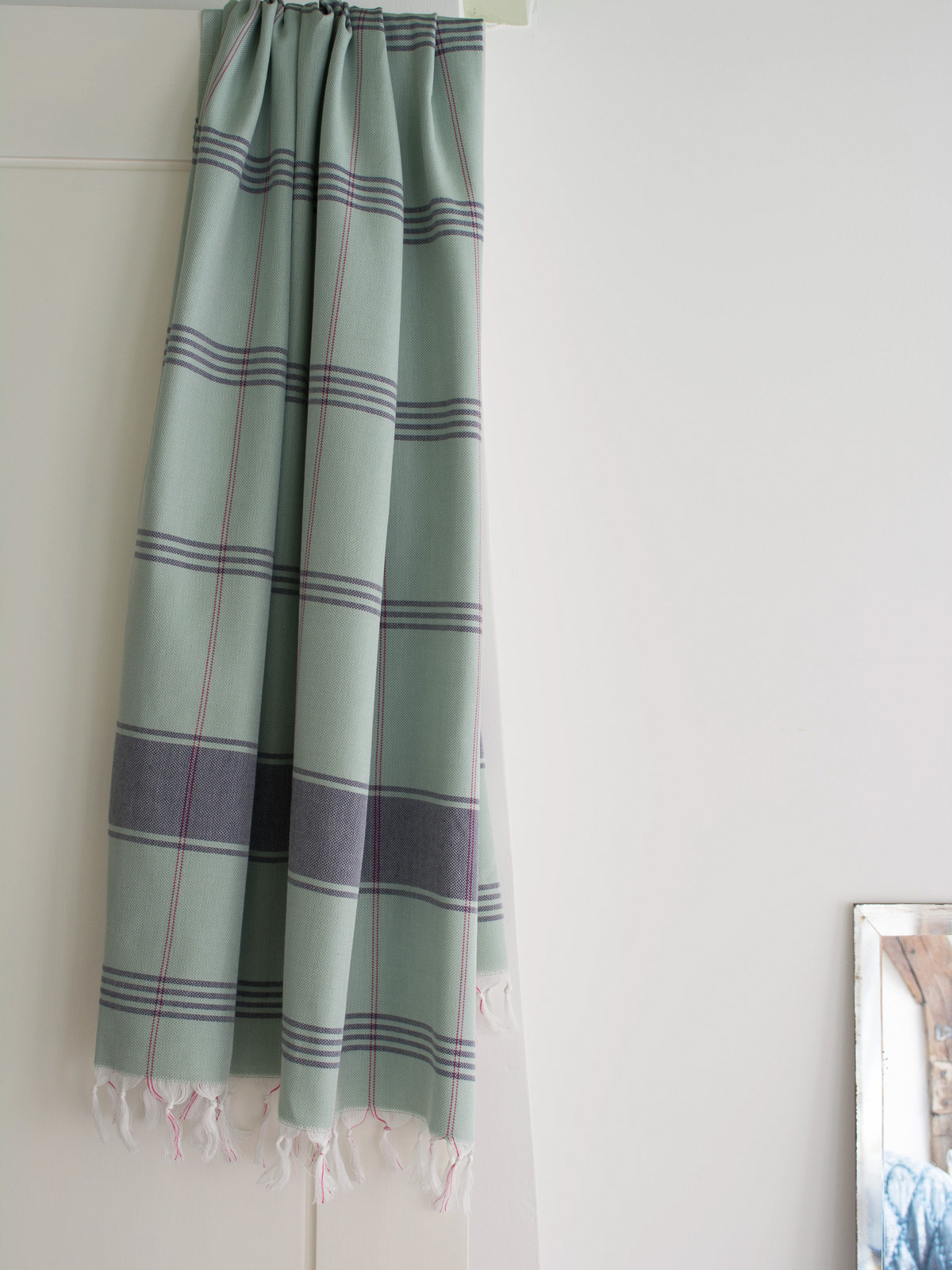Hammam Towel Checkered Grey Green Dark Blue