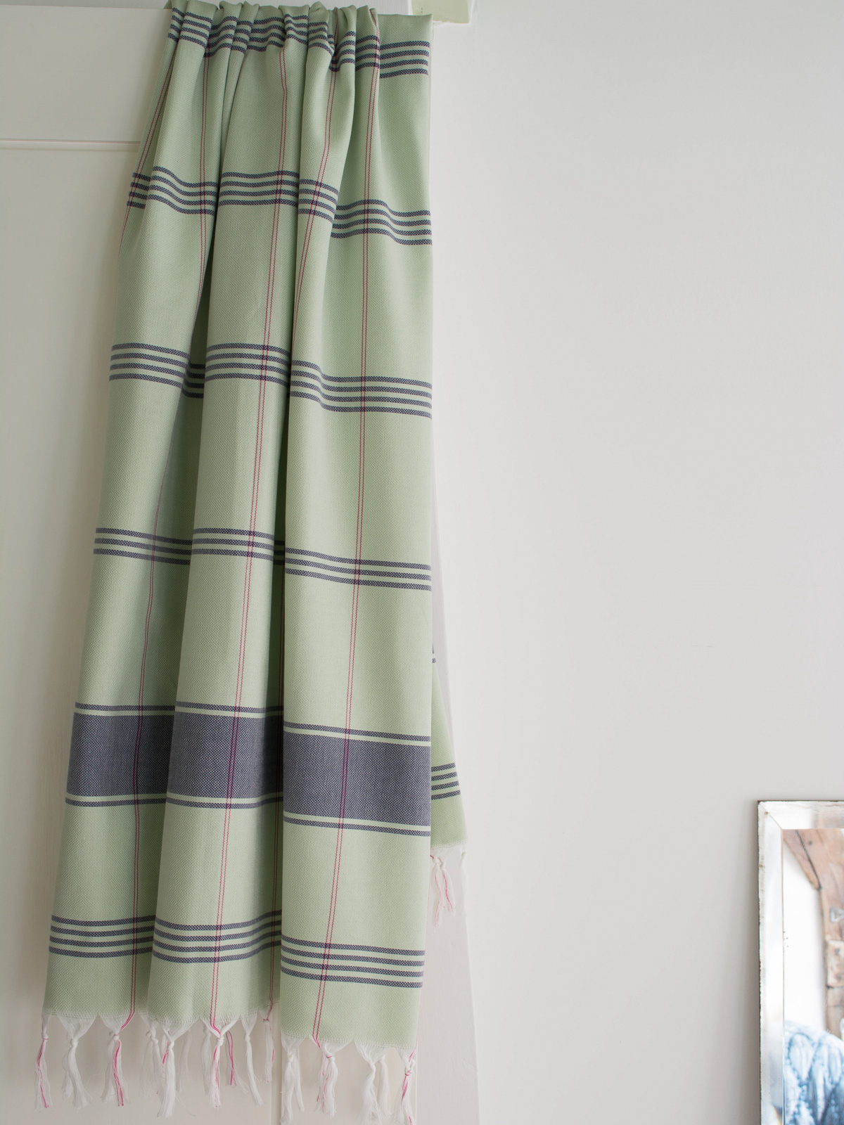 Hammam Towel Checkered Light Green Dark Blue