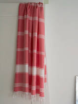 hammam towel checkered coral red/white
