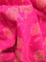 damask dark pink with yellow, 1 meter