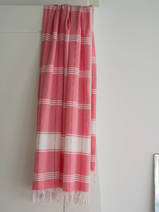 fouta à carreaux rose bonbon/blanc