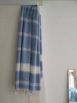 fouta à carreaux blue/blanc