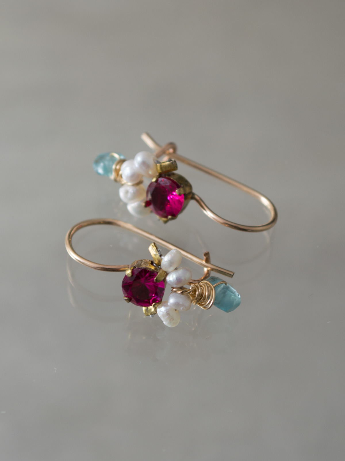 earrings Dancer fuchsia crystal and pearls