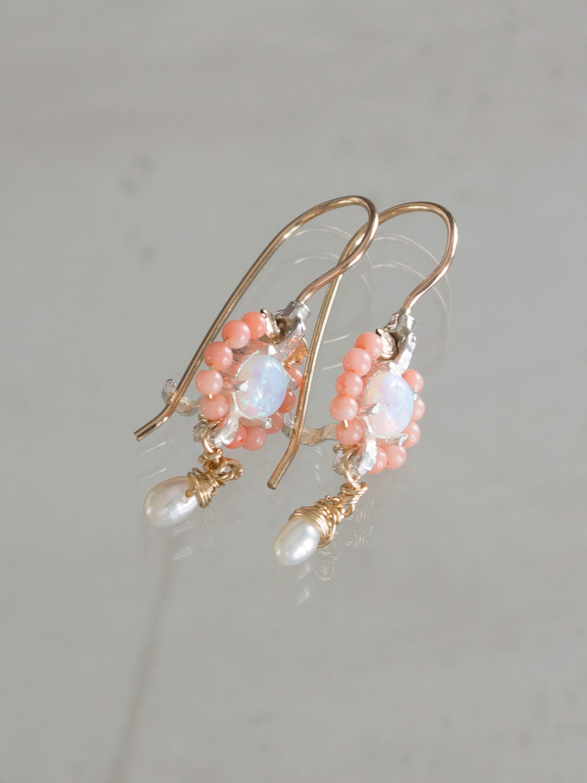 earrings Flower mini coral and opal