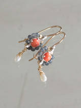 earrings Flower mini coral and labradorite