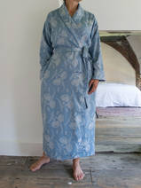 elegant dressing gown gray-blue with silver-gray