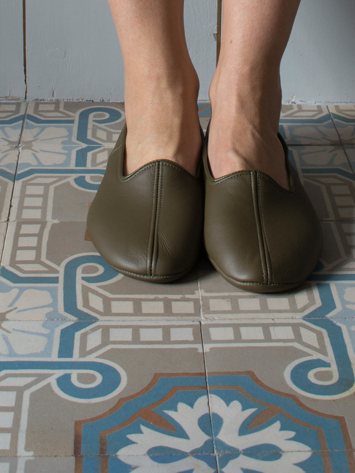 leather house slippers - olive green