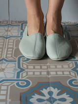 leather house slippers - sea green