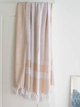 hammam towel with terry cloth, ocher