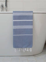 hammam towel steel blue/white