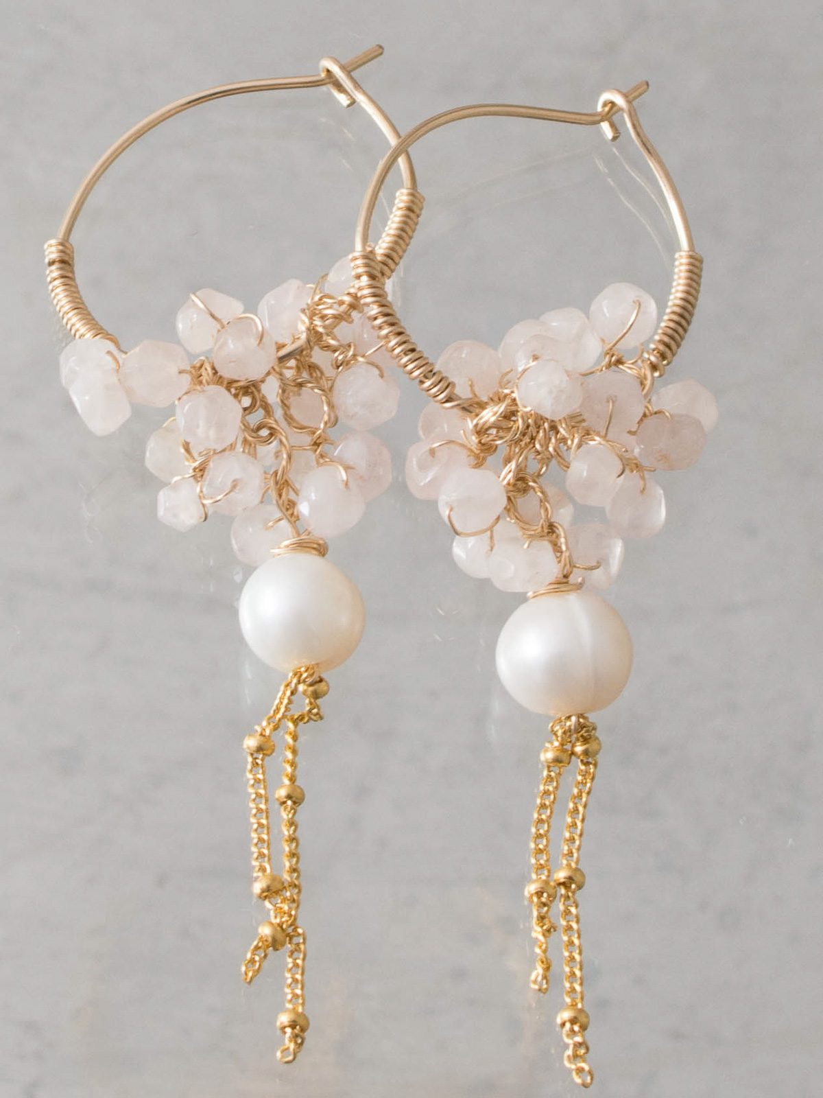 earrings Gipsy rose quartz and pearl
