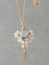 collier Goddess quartz rose, pierre de lune