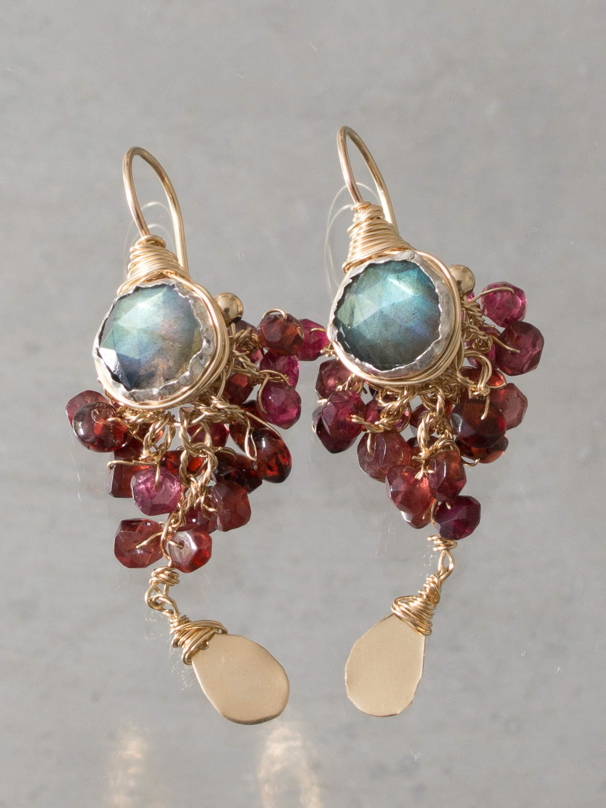 earrings Goddess labradorite and garnet