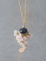 collier Goddess labradorite et quartz rose