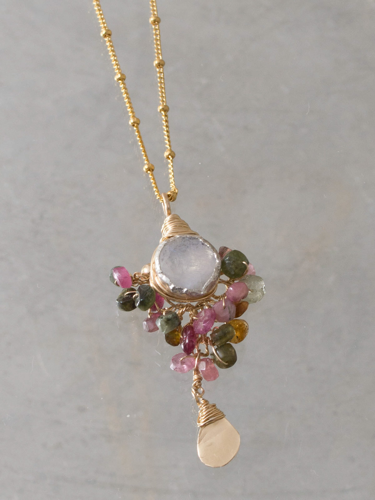 necklace Goddess tourmaline and moonstone