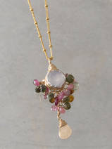 collier Goddess tourmaline, pierre de lune