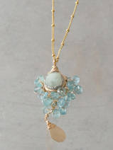 collier Goddess aquamarine, apatite