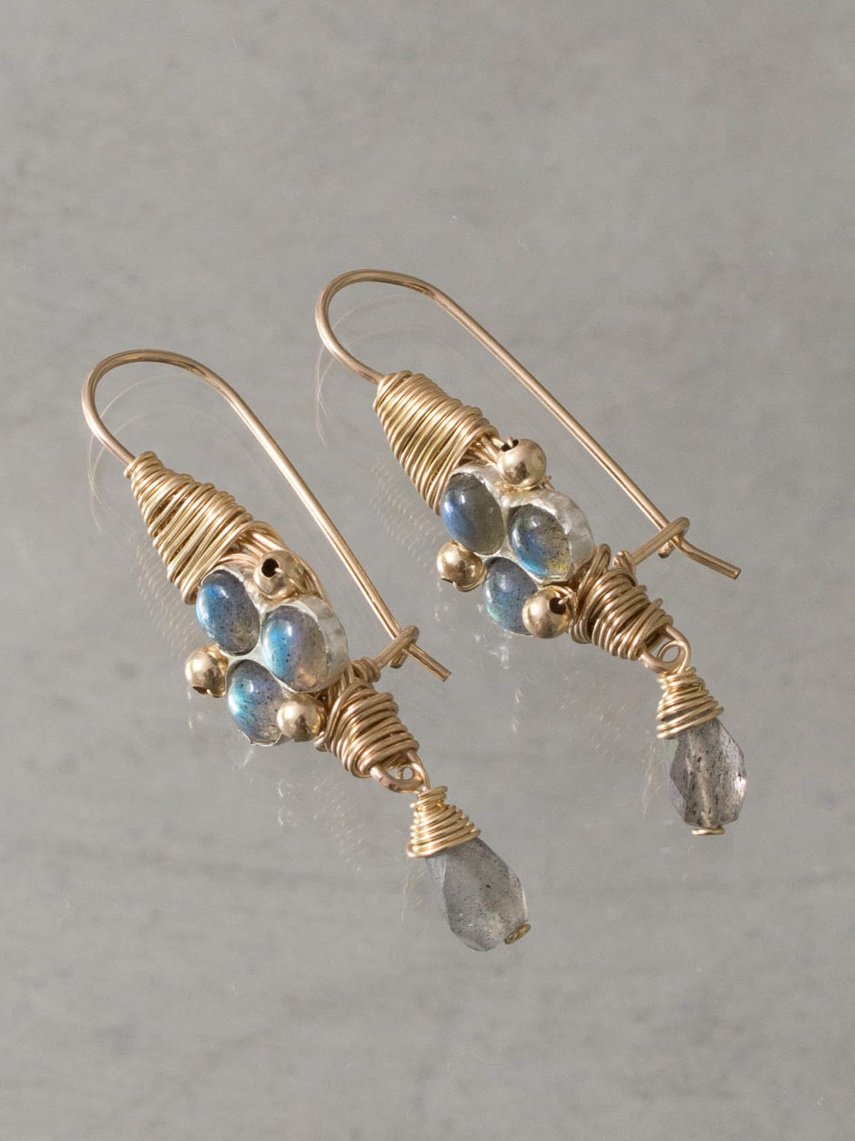 boucles d'oreilles Wire Wrapped labradorite