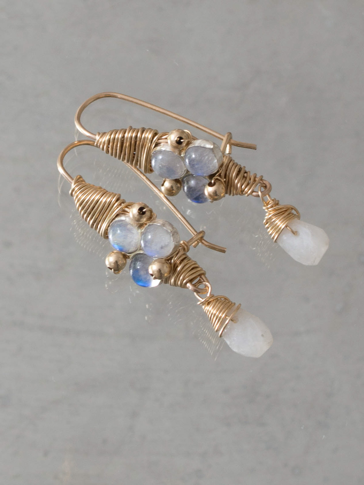 earrings Wire Wrapped moonstone