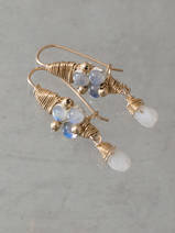 boucles d'oreilles Wire Wrapped pierre de lune