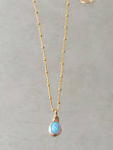 collier Wire mini, opale bleue