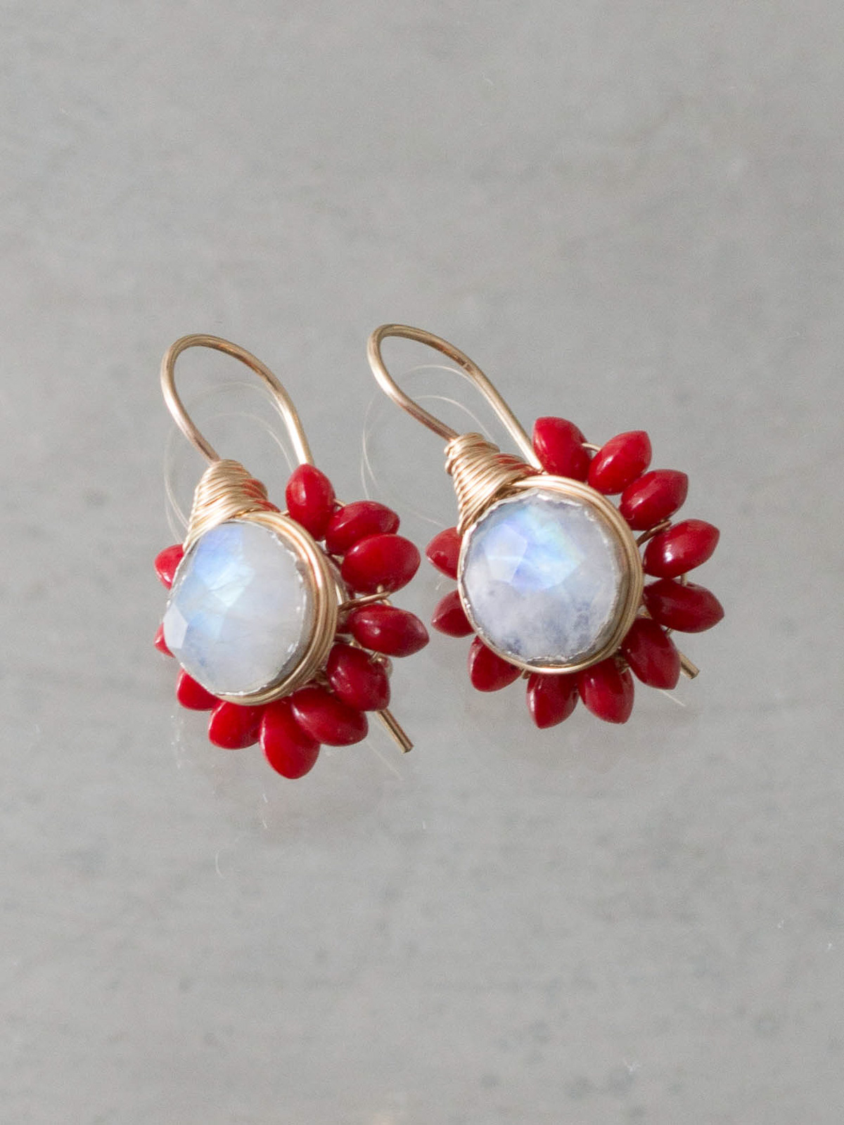earrings Flower moonstone and coral
