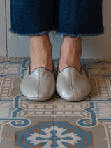 leather house slippers - silver coloured