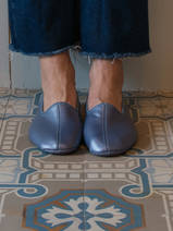 leather house slippers - glossy blue