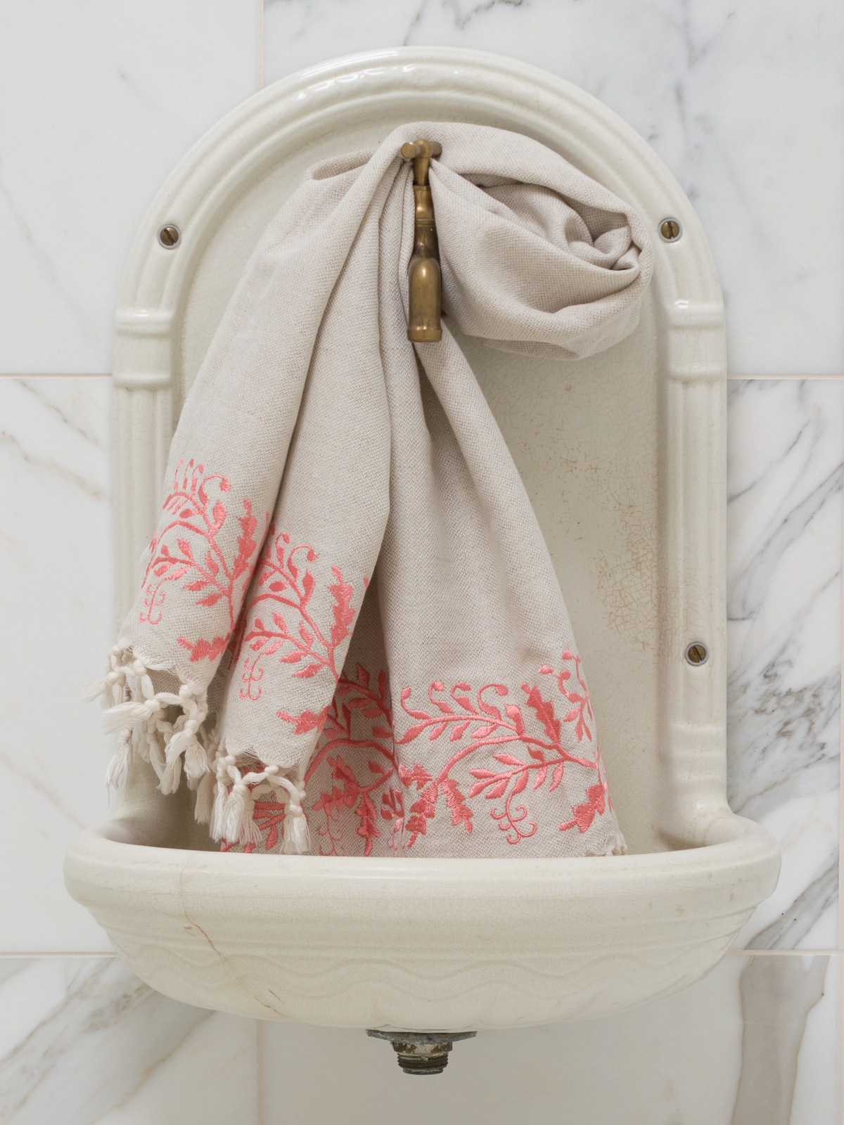 linen hamam towel embroidery coral