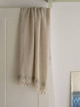 linen hamam towel embroidery green