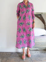 Long kurta - lilac with green bouquets
