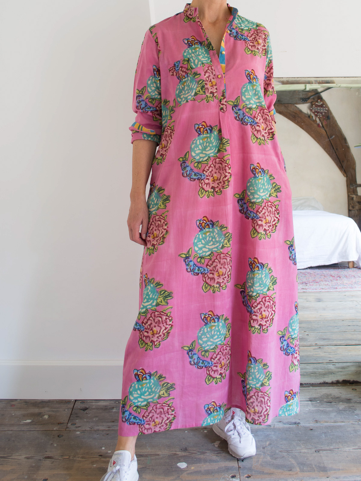 Long kurta - old pink with green hydrangea flowers and butterflies