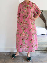 Long kurta - old pink with red-green peonies