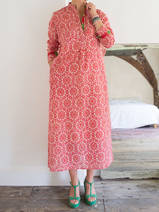 Long kurta - damask pattern in pink, red and cream