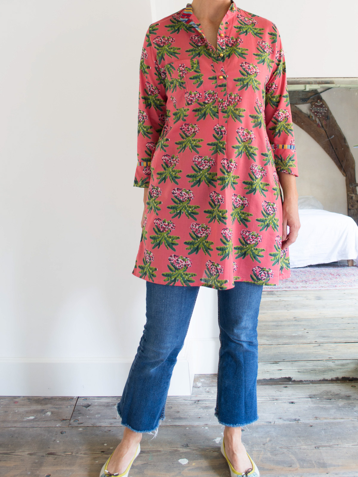 short kurta - pink with green palm leaves
