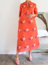 Long kurta - orange with wine red and yellow roses