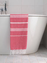 hammam towel ruby red/white