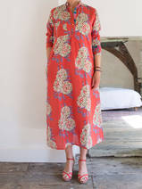 Long kurta - brick red with peonies in white, lilac and green